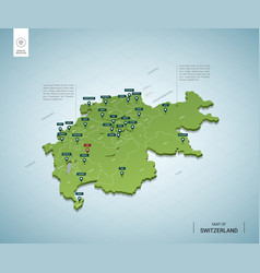stylized map switzerland isometric 3d green vector image