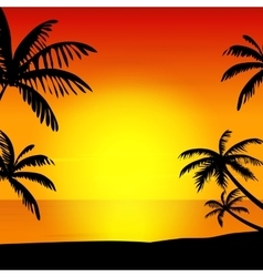 Sunset on island vector