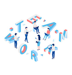 team work isometric concept vector image