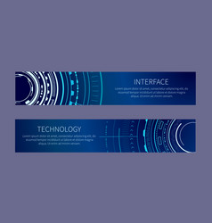 technology banner with two interface patterns vector image