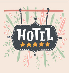 the hotel sign with a five golden stars vector image
