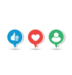 three social icons vector image