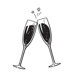 Two sparkling glasses champagne or wine cheers vector