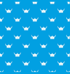 Viking helmet pattern seamless blue vector