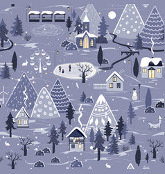 Winter seamless pattern with night landscape with vector