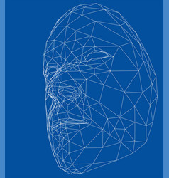 wire-frame abstract human face vector image