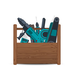 wooden box with electric construction tools vector image