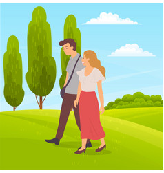 young couple walks on green landscape trees vector image