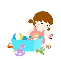 Cartoon cute girl storing toys vector
