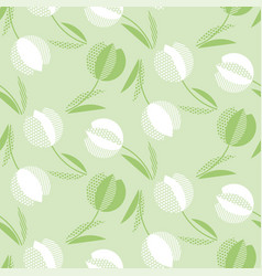 decorative green color tulip flower seamless vector image
