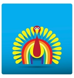 Multi-colored turkey-cock in the form of a rainbow vector image vector image
