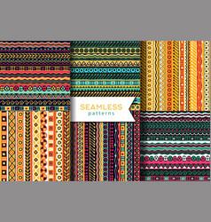 set of seamless pattern boho style ethnic vector image vector image
