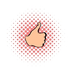 Thumb up icon comics style vector image