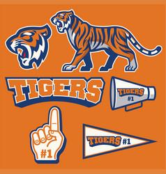 tiger mascot in set vector image vector image