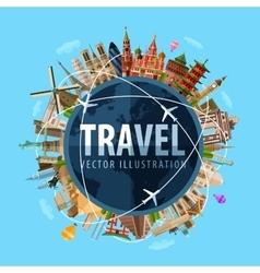 travel journey logo design template world vector image vector image