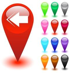Back arrow button vector image vector image