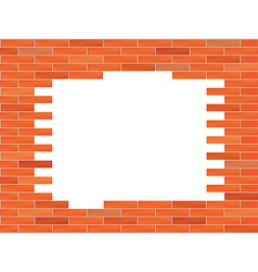 brick wall with big hole vector image vector image