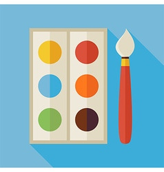 Flat Palette with Colorful Paints and Paintbrush vector image vector image