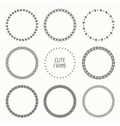 Hand drawn monochrome frame of geometric pattern vector image