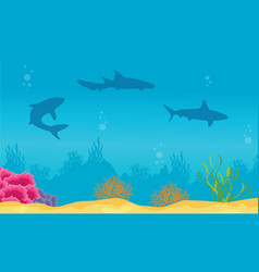 Landscape of ocean with reef and shark silhouettes vector