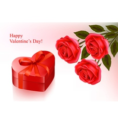 red roses and gift red box vector image vector image