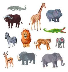 cartoon african animals set vector image vector image