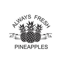 emblem of pineapple fruit vector image vector image
