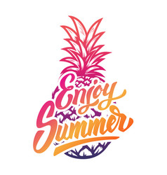 enjoy summer hand drawn lettering phrase on white vector image vector image
