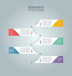 timeline business concept with 5 options vector image