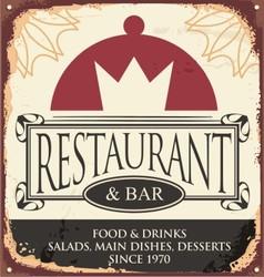 Vintage restaurant sign template vector image