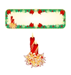 Banner Christmas Spruce with a candlestick vector image vector image