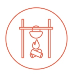Cooking in cauldron on campfire line icon vector image vector image
