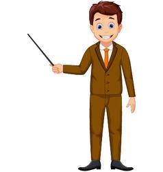 cute teacher cartoon holding a pointer vector image vector image