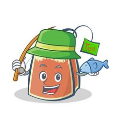 fishing tea bag character cartoon art vector image vector image