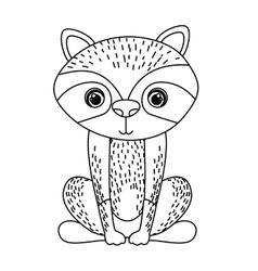 Raccoon cute wildlife icon vector