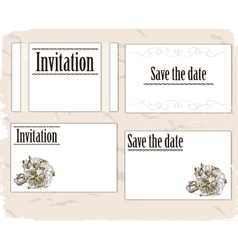 Vintage invitation cards set vector image vector image