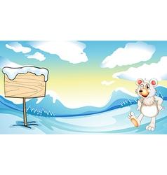 A bear near the wooden signboard vector image