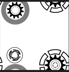 abstract geometric gear cogwheel circles lines vector image
