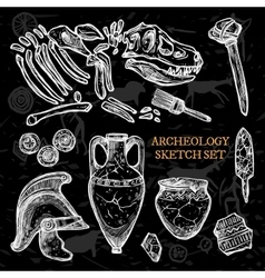 Archeology Chalkboard Sketch Set vector