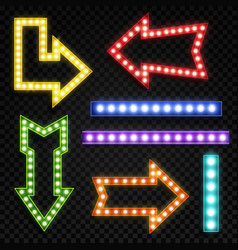 arrows with bulb lamps retro signpost with vector image