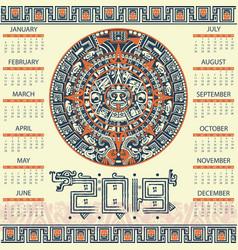Aztec calendar 2019 vector