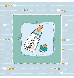 baby announcement card with milk bottle and vector image