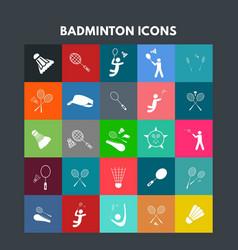 Badminton icons vector