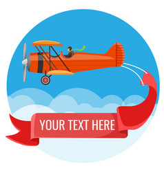 biplane with pilot and big long poster for vector image