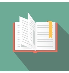 Book icon in flat style with long shadow vector