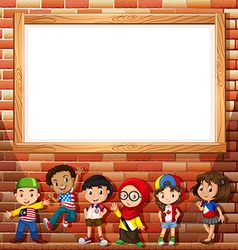 Border design with many children vector
