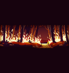 Burning wildfire at night fire in forest vector