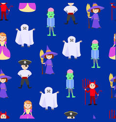 cartoon halloween kids costumes seamless pattern vector image
