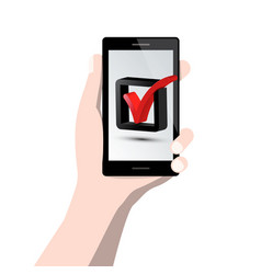 Check mark symbol on mobile phone screen in human vector