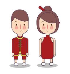 chinese bride and groom cartoon wedding vector image